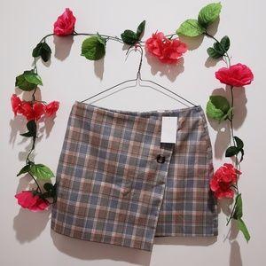 Plaid Buttoned Wrap Skirt